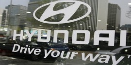 Cars are displayed at a branch shop of Hyundai Motor in Seoul