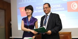Ahmed El Karm et Mme Zhao Fujun, Directrice Générale Adjointe à l'Industrial and Commercial Bank of China